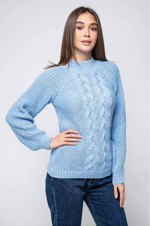 Женский Вязаный свитер Ника с люрексом Голубой