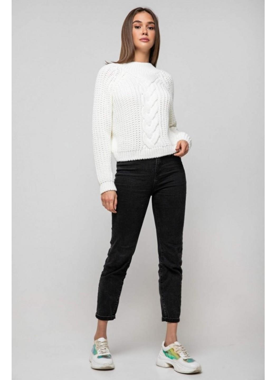 Вязаный свитер «Злата» - молочный