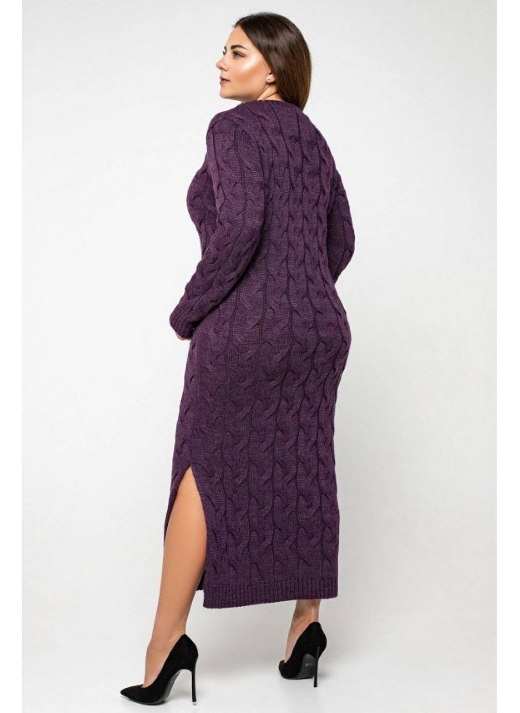 Женское Вязаное Платье Эвелина Баклажан Size+ купить в Украине: фото, цена, характеристики, отзывы - фото 2