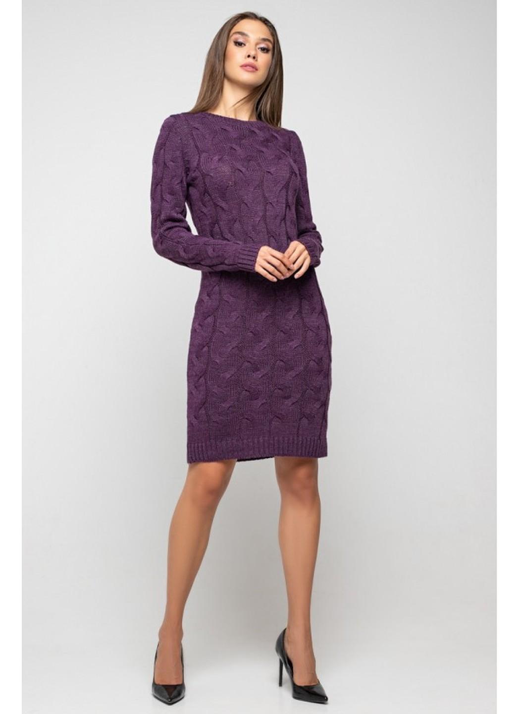 Женское Вязаное Платье Каролина Баклажан купить в Украине: фото, цена, характеристики, отзывы - фото 1