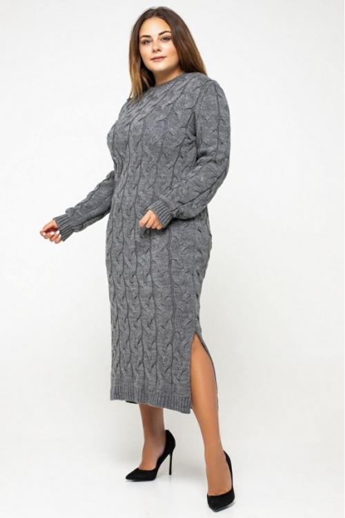 Женское Вязаное Платье Эвелина Темно-серый Size+