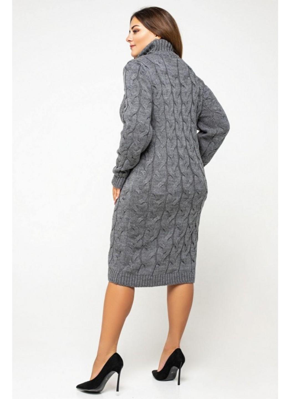 Женское Вязаное платье Сабрина Темно-серый Size+ купить в Украине: фото, цена, характеристики, отзывы - фото 3