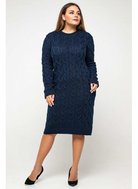 Женское Вязаное платье Каролина Темно-синий Size+ купить в Украине: фото, цена, характеристики, отзывы - фото 2
