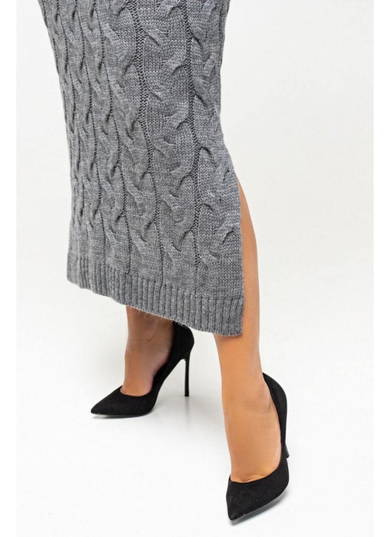 """Вязаное платье """"Эвелина"""" - темно-серый - Size+"""