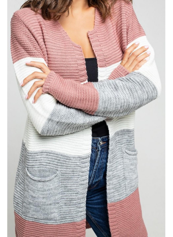 Женский Вязаный кардиган Меги Пудра, серый, молоко купить в Украине: фото, цена, характеристики, отзывы - фото 2