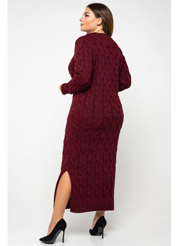 Женское Вязаное Платье Эвелина Бордо Size+ купить в Украине: фото, цена, характеристики, отзывы - фото 2