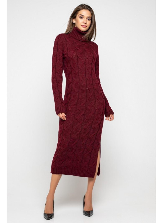 Женское Вязаное платье Ангелина Бордо купить в Украине: фото, цена, характеристики, отзывы - фото 1