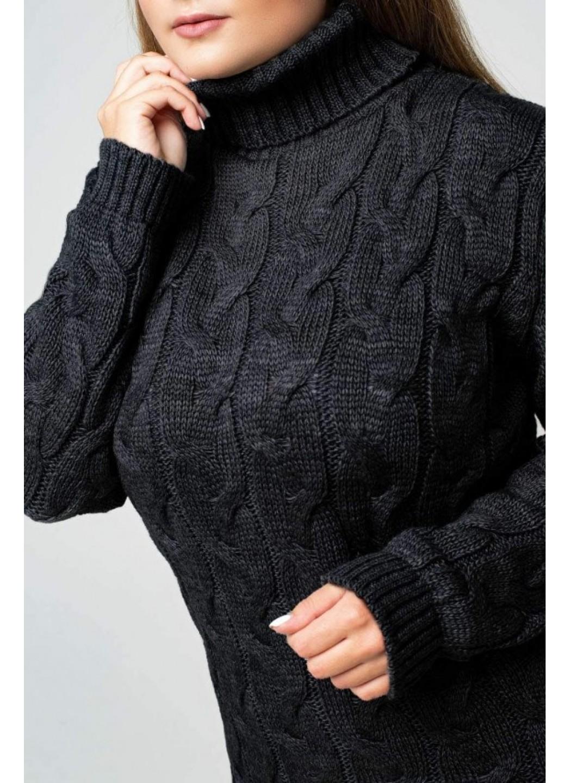 """Вязаное платье """"Ангелина""""- черный - Size+"""