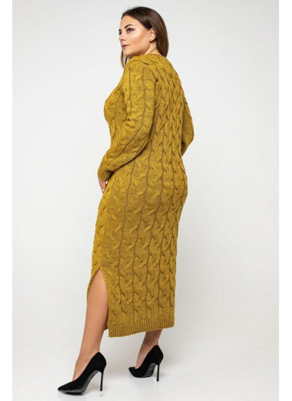 Женское Вязаное Платье Эвелина Горчица Size+ купить в Украине: фото, цена, характеристики, отзывы - фото 1