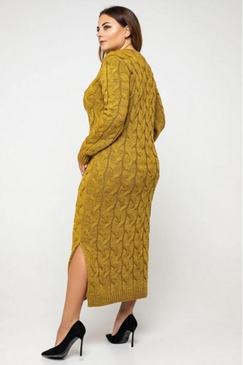 Женское Вязаное Платье Эвелина Горчица Size+