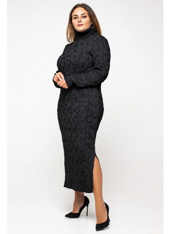 Женское Вязаное Платье Ангелина Черный Size+ купить в Украине: фото, цена, характеристики, отзывы - фото 3