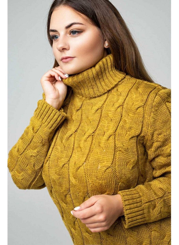 Женское Вязаное платье Ангелина Горчица Size+ купить в Украине: фото, цена, характеристики, отзывы - фото 1