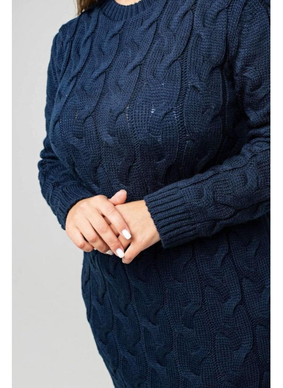 Женское Вязаное Платье Эвелина Темно-синий Size+ купить в Украине: фото, цена, характеристики, отзывы - фото 4