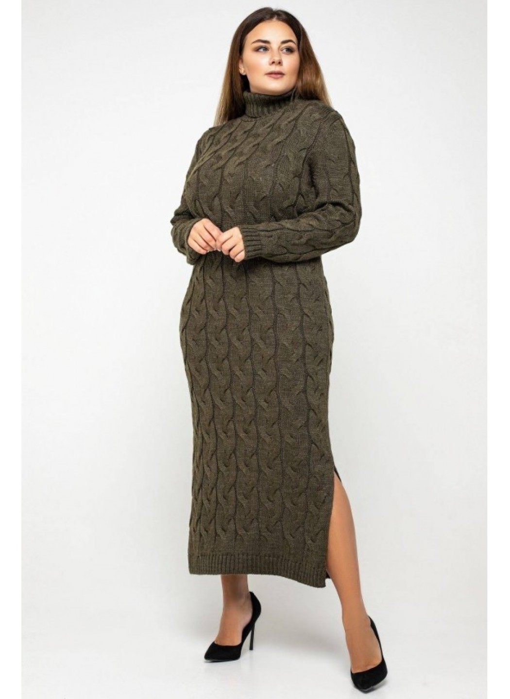 Женское Вязаное платье Ангелина Табак Size+ купить в Украине: фото, цена, характеристики, отзывы - фото 1