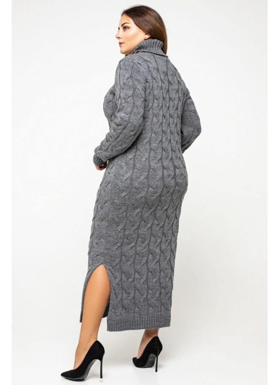 Женское Вязаное Платье Ангелина Темно-серый Size+ купить в Украине: фото, цена, характеристики, отзывы - фото 2