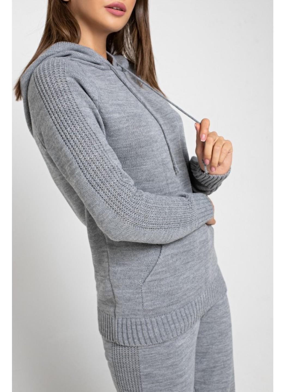Женский Вязаный костюм Карина с капюшоном Светло-серый купить в Украине: фото, цена, характеристики, отзывы - фото 2