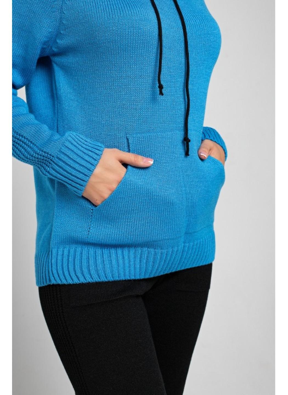 Женский Вязаный костюм Карина с капюшоном Синий купить в Украине: фото, цена, характеристики, отзывы - фото 3