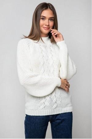 Вязаный свитер «Ника» с люрексом - молочный