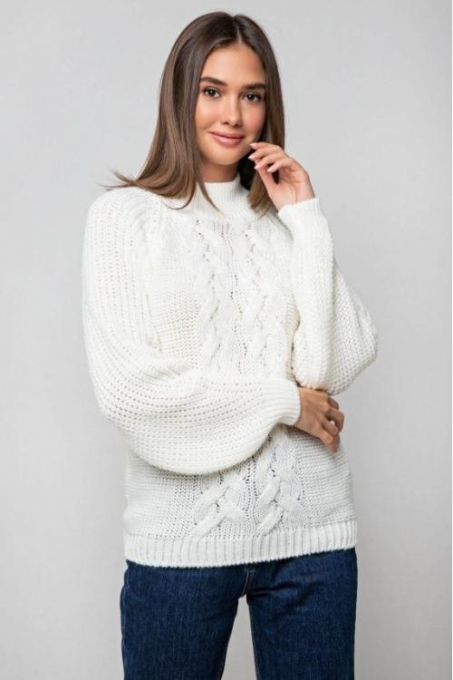 Женский Вязаный свитер Ника с люрексом Молочный