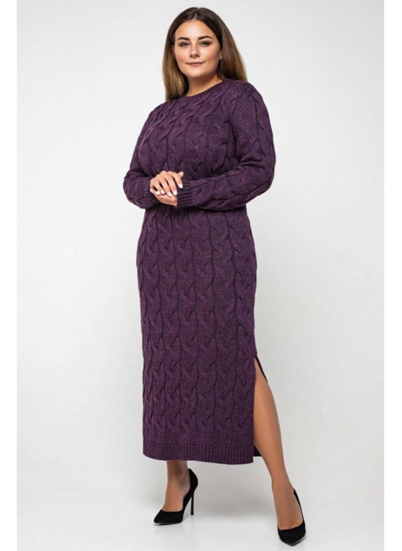 Женское Вязаное Платье Эвелина Баклажан Size+ купить в Украине: фото, цена, характеристики, отзывы - фото 1