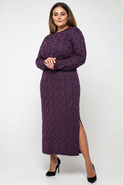 Женское Вязаное Платье Эвелина Баклажан Size+
