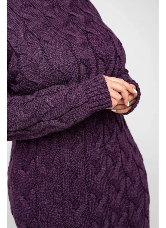 Женское Вязаное платье Сабрина Баклажан - Size+ купить в Украине: фото, цена, характеристики, отзывы - фото 3