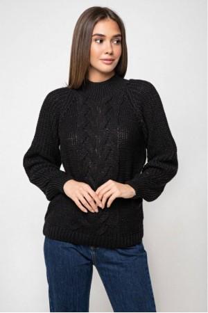 Вязаный свитер «Ника» с люрексом - черный