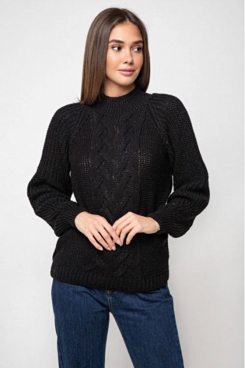 Женский Вязаный свитер Ника с люрексом Черный