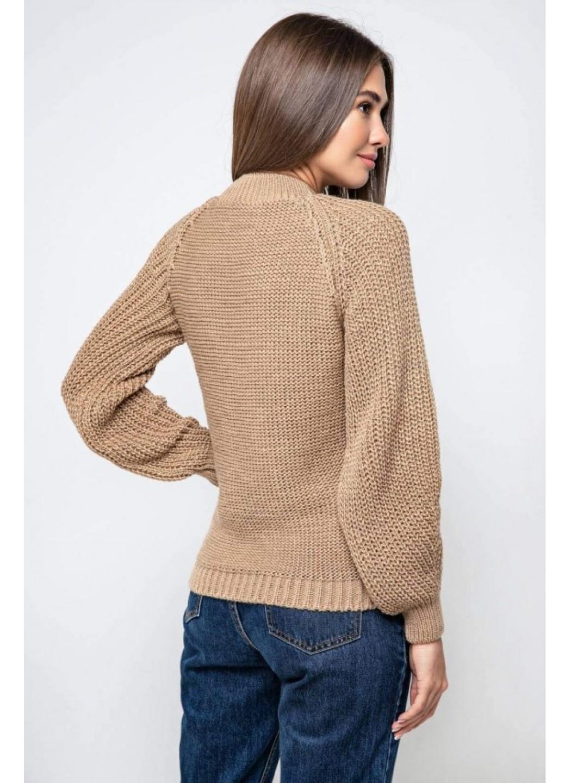 Вязаный свитер «Ника» с люрексом - кэмел