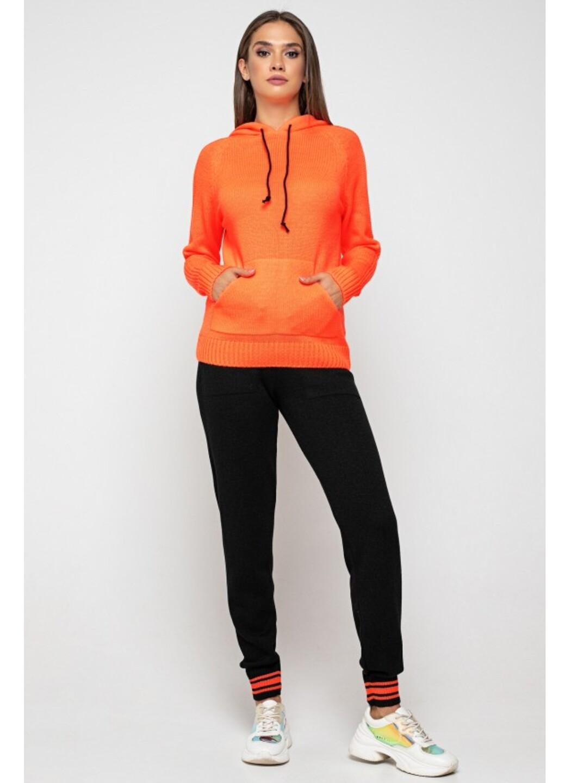 Женский Вязаный костюм Карина с капюшоном Оранжевый купить в Украине: фото, цена, характеристики, отзывы - фото 1