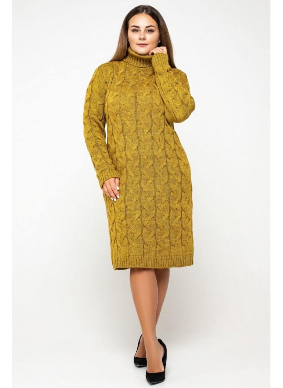 Женское Вязаное платье Сабрина Горчица Size+ купить в Украине: фото, цена, характеристики, отзывы - фото 1