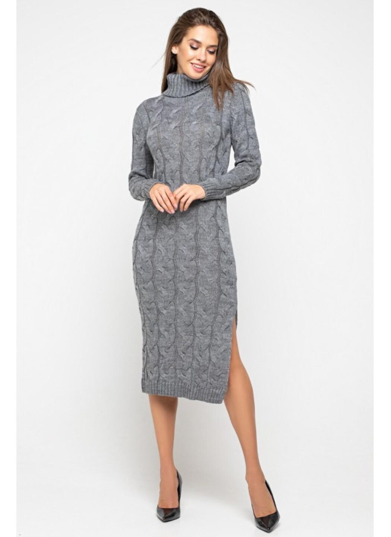 Женское Вязаное Платье Ангелина Темно-серый купить в Украине: фото, цена, характеристики, отзывы - фото 1