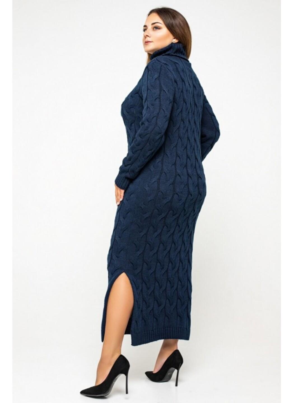 "Вязаное платье ""Ангелина""- темно-синий - Size+"